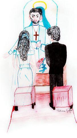 La famiglia dell'uomo con la rosa in mano